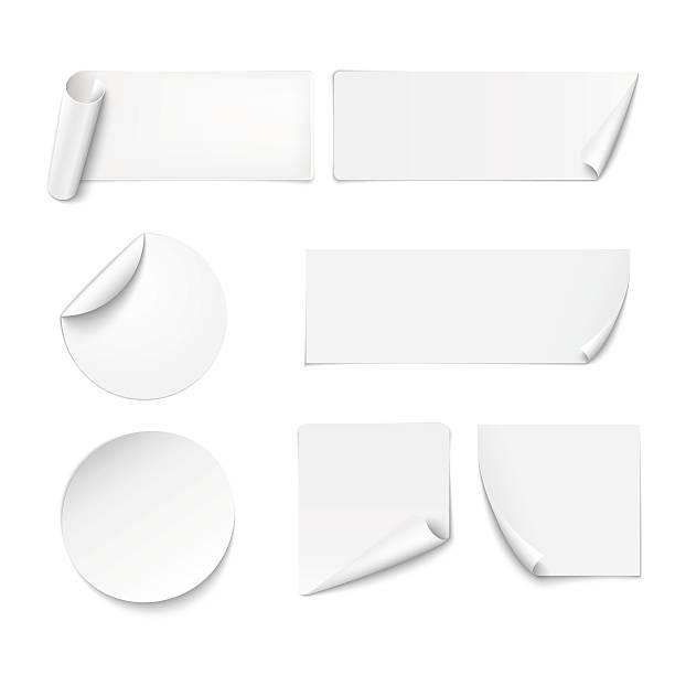 White paper stickers peeling at edges on white background Set of white paper stickers on white background. Vector illustration label stock illustrations
