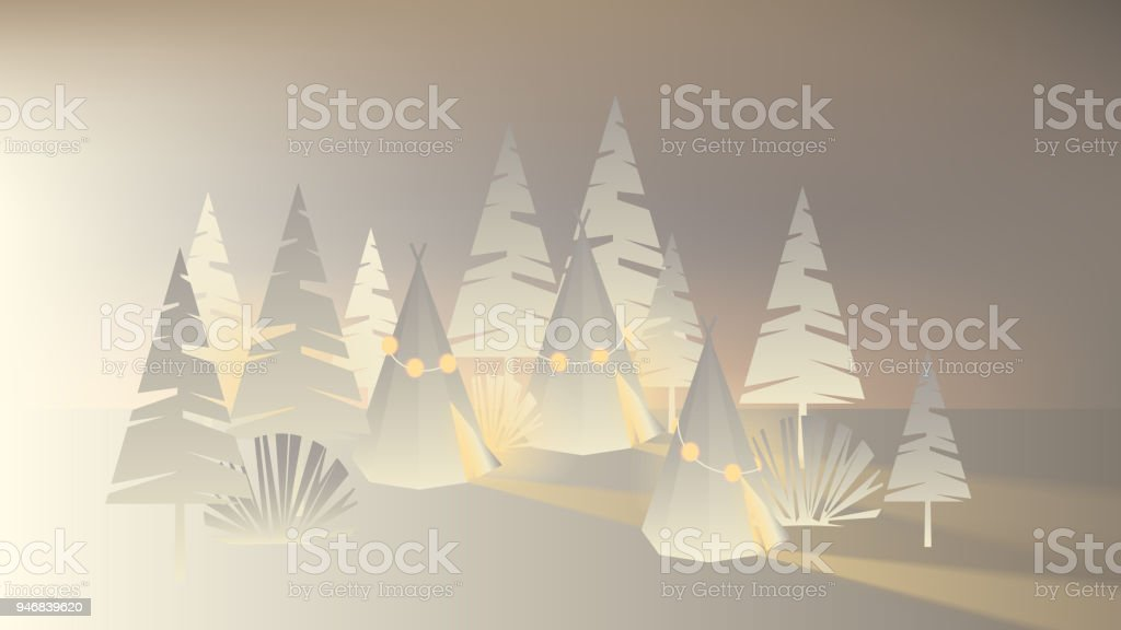 white paper tents and tree decorated with glowing christmas lights