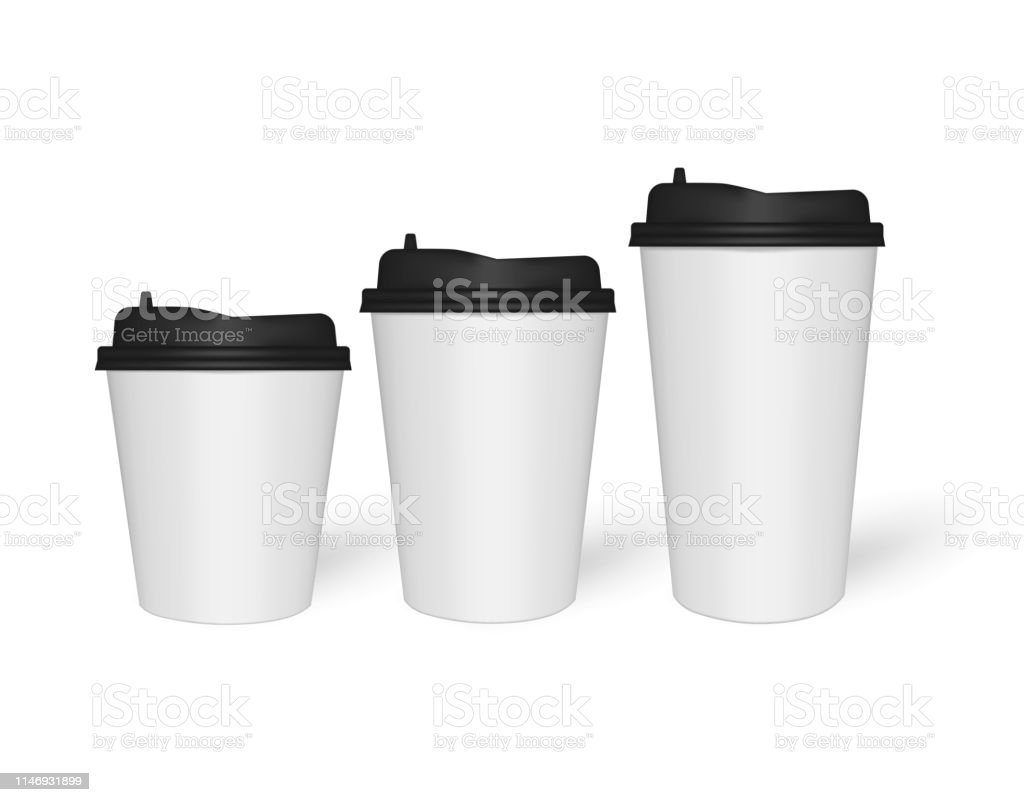 White Paper To Go Coffee Cups Different Sizes Vector