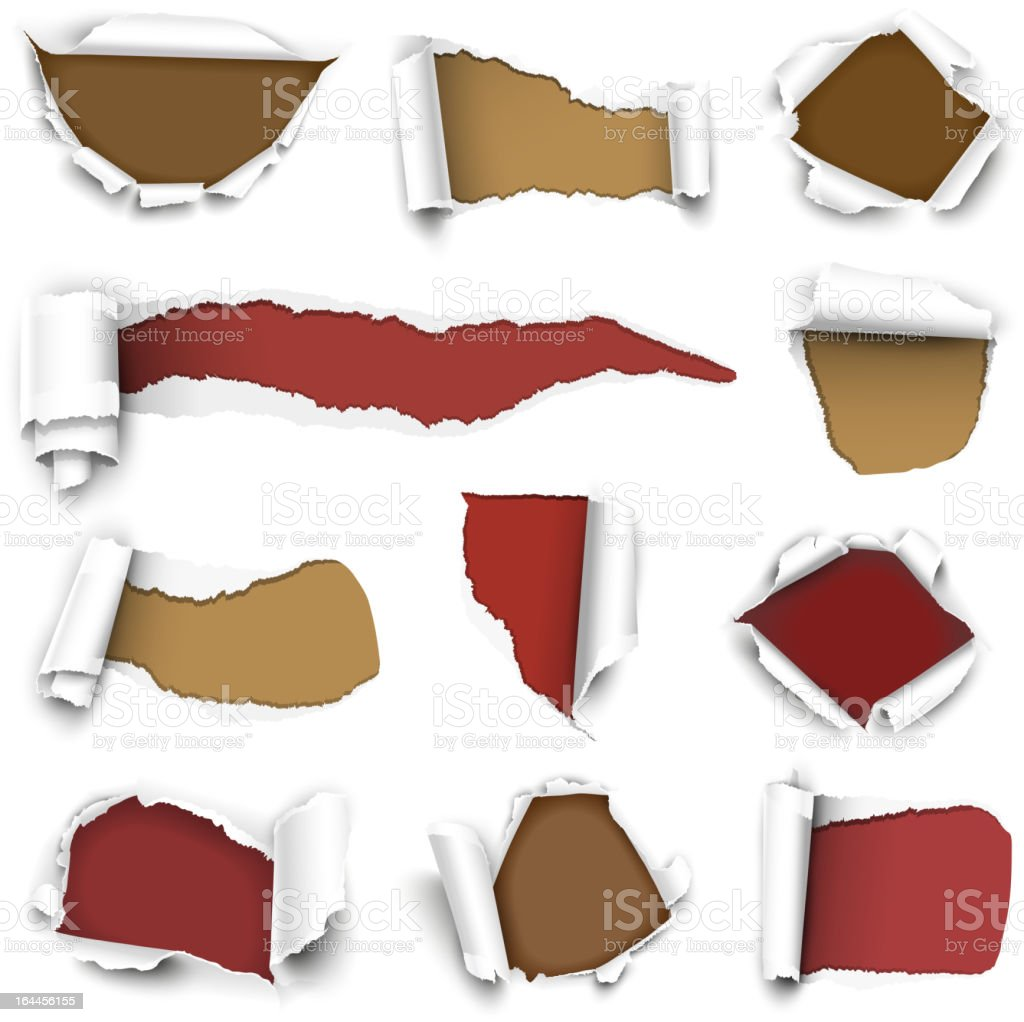 White paper torn back showing red and brown underneath royalty-free stock vector art