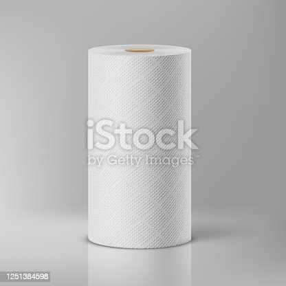 White paper towels in a package on a gray background. Vector illustration