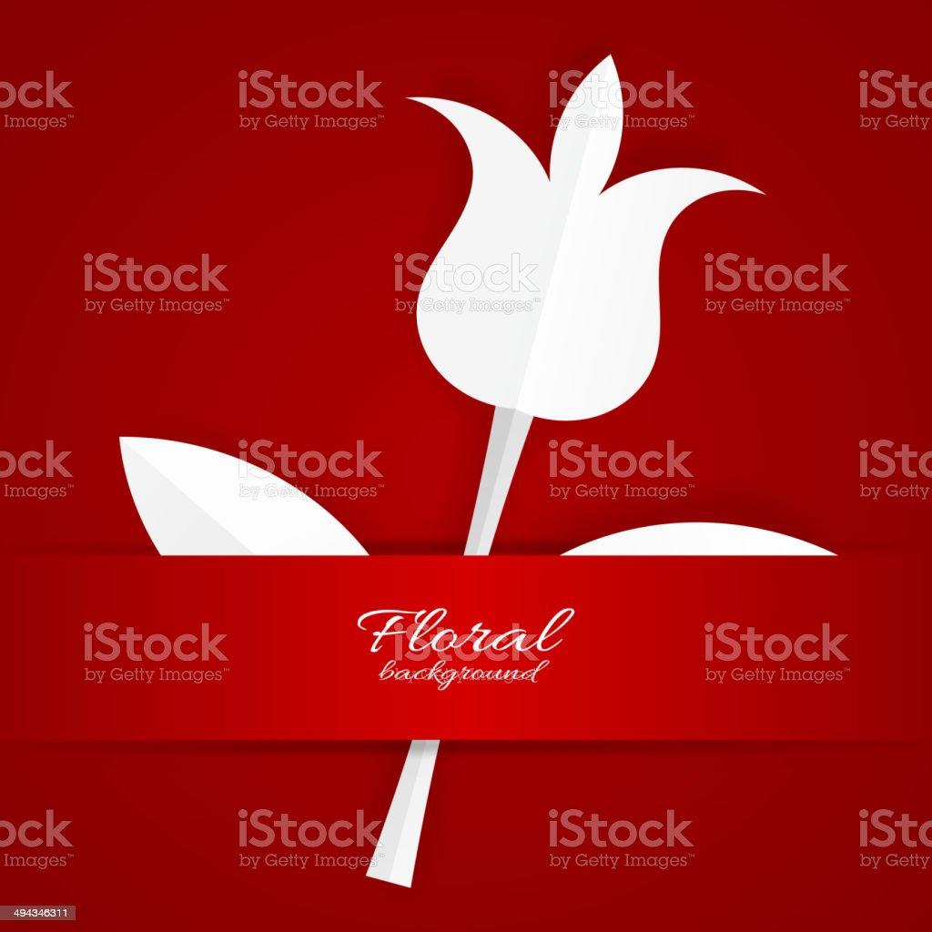 Tulipe Blanche De Papier Sur Fond Rouge Stock Vecteur Libres De