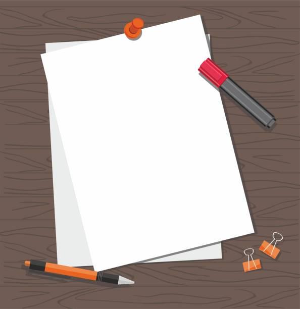 weißes papier mit stift und marker auf dem tisch - filzarbeiten stock-grafiken, -clipart, -cartoons und -symbole