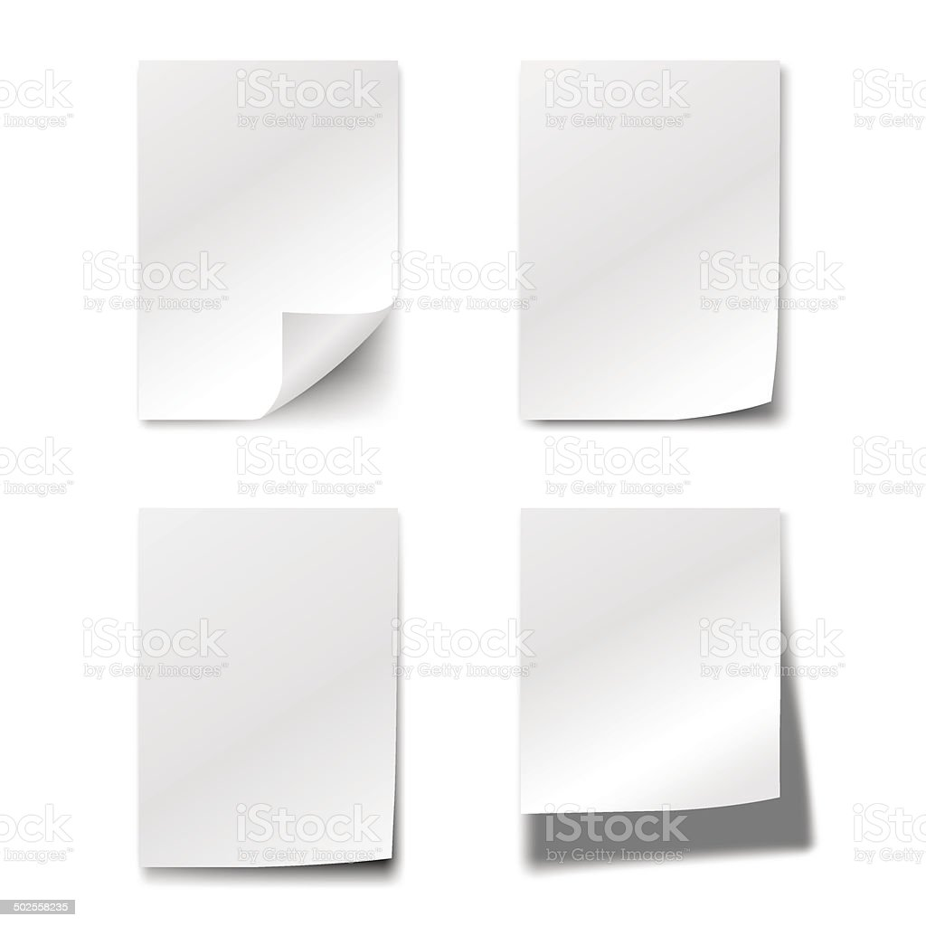 White papers vector art illustration
