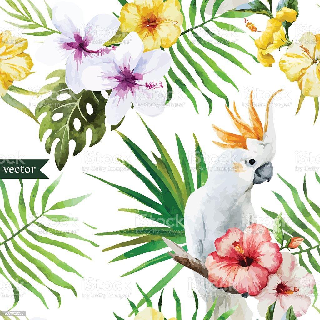 Papier Peint Avec Perroquet perroquet blanc hibiscus tropicale palmiers des fleurs un