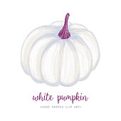 istock White Pastel Drawing Pumpkin Isolated on White. 1251729327