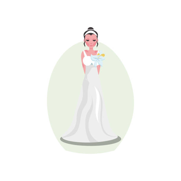 White pastel long modern style wedding dress with decorative flower White pastel long modern style wedding dress with decorative flower and diadem on young bride. Vector illustration background. Luxury bridewear in classical and modern fashion style concept diademe stock illustrations