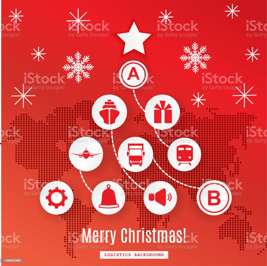 White pathway in the shape of christmas tree on red background. White...