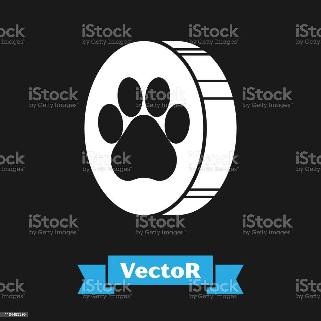 White Paw print icon isolated on black background. Dog or cat paw...