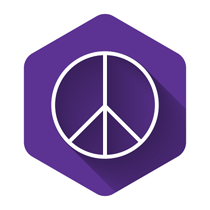White Peace sign icon isolated with long shadow. Hippie symbol of peace. Purple hexagon button. Vector Illustration