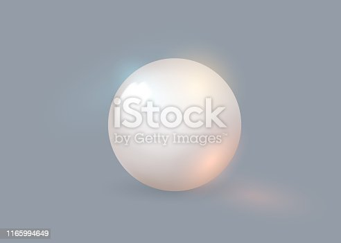 White pearl. White sphere on background. Abstract banner with white ball. Vector illustration, transparencies ,effects for your design.