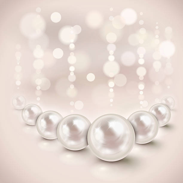 White pearls background vector art illustration
