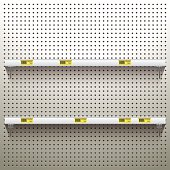 White Pegboard Background with shelves and price tags