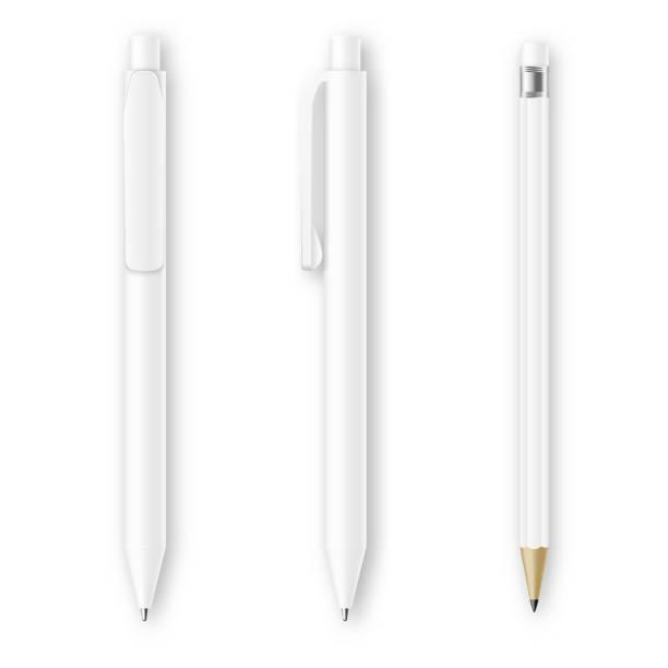 ilustrações de stock, clip art, desenhos animados e ícones de branco caneta e lápis vector maquetes. identidade corporativa marca artigos de papelaria - caneta