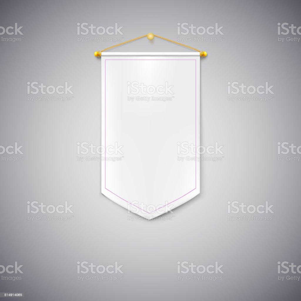 White pennant on white background. vector art illustration
