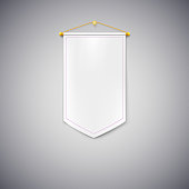 White pennant on white background.