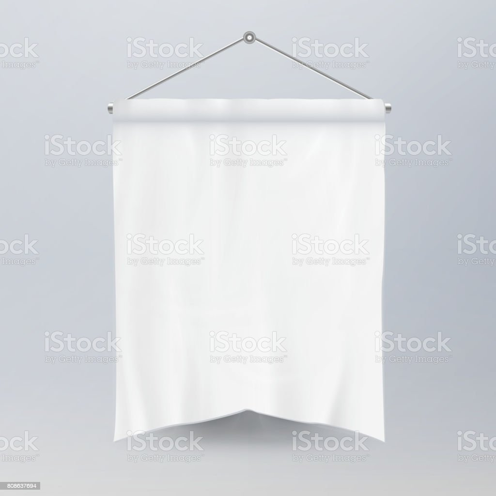 White Pennant Template Vector. Empty 3D Pennant Banner Blank. Classic Form vector art illustration