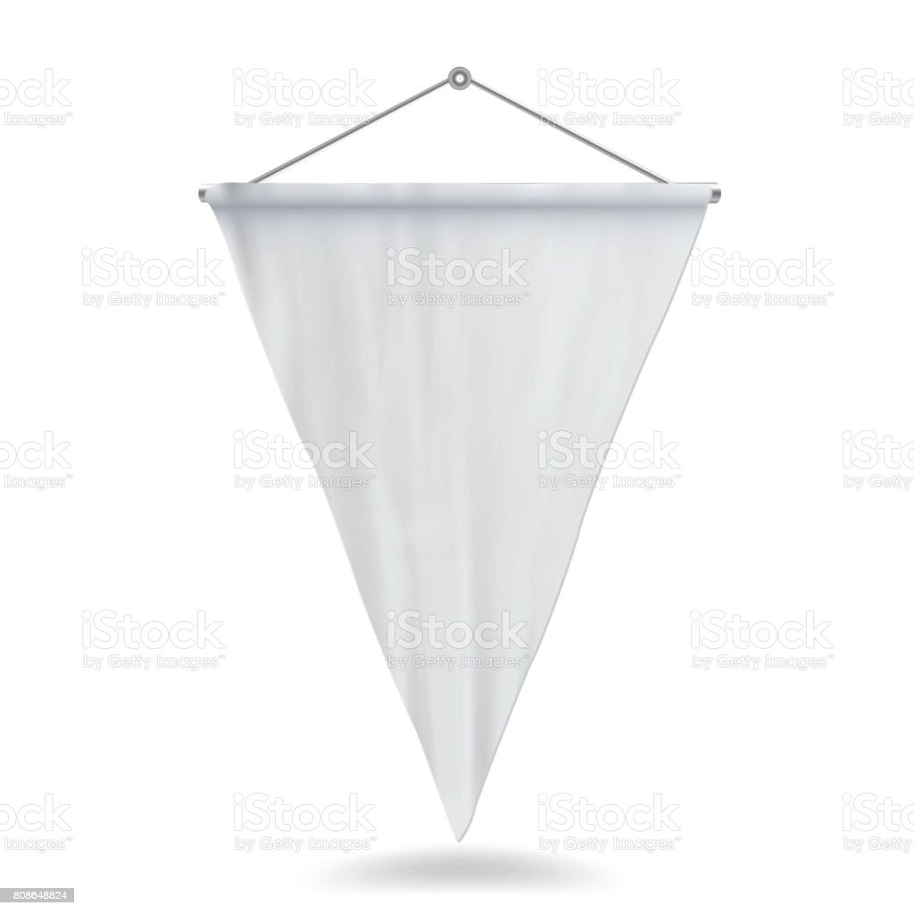 Ilustración de Vector de plantilla de banderín blanco. Vacío 3D banderín Mock Up - ilustración de arte vectorial