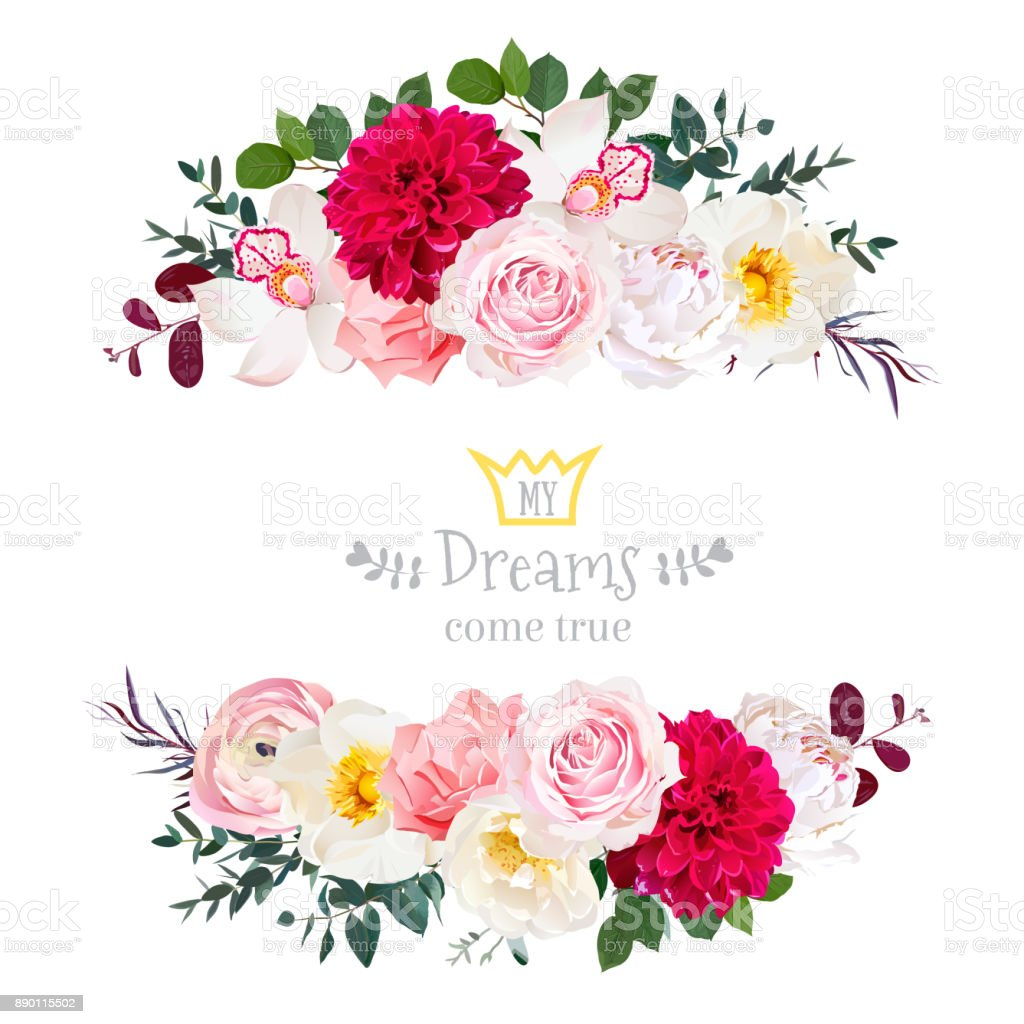 White peony, pink rose, orchid, carnation flowers, orchid, burgu