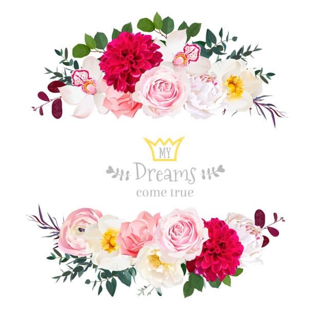 ilustrações de stock, clip art, desenhos animados e ícones de white peony, pink rose, orchid, carnation flowers, orchid, burgu - flower white background
