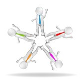 3D white people men teamwork business vector design