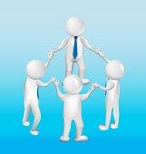 3D white people men teamwork holding hands