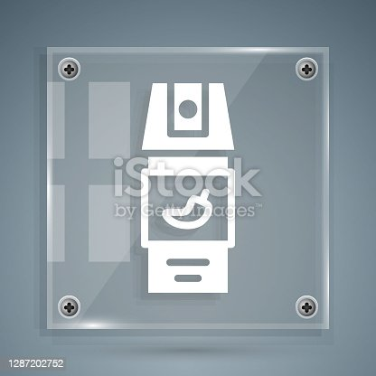 istock White Pepper spray icon isolated on grey background. OC gas. Capsicum self defense aerosol. Square glass panels. Vector 1287202752