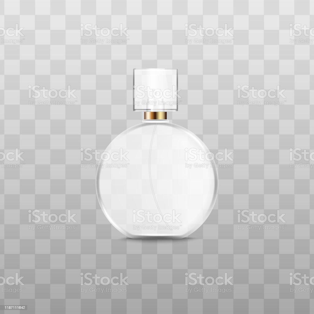 Vit Parfym Flaska Med Realistisk Glas Konsistensisolerad Rund Cologne Container vektorgrafik och fler bilder på Behållare
