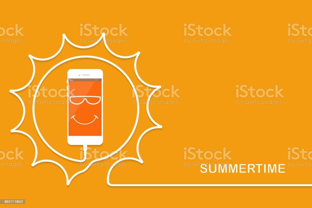 White Handy Aufladen Lustige Sonne Sommersmartphone Draht Gruß Handy