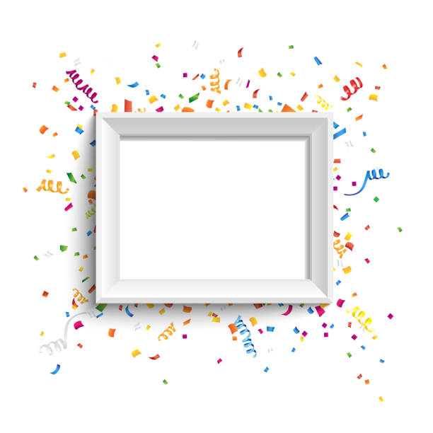 white photo frame with colorful confetti and ribbons. vector illustration. - anniversary clipart stock illustrations