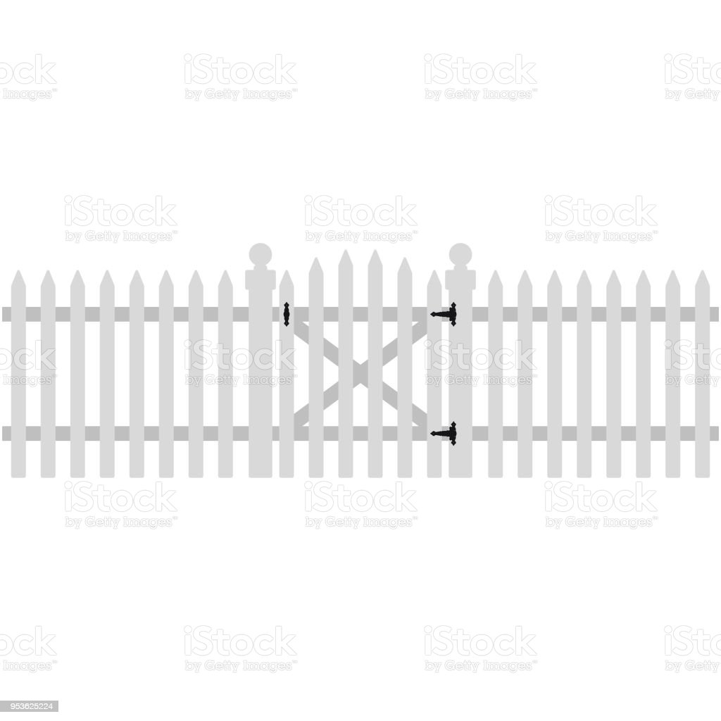 White Picket Fence And Gate Illustration Stock ...