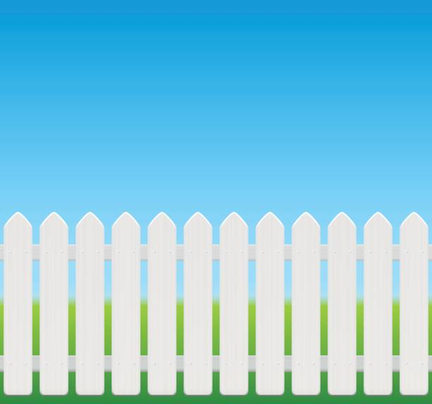 White picket fence, comic style, wooden texture - seamless expandable - isolated vector illustration on green to sky blue gradient. vector art illustration