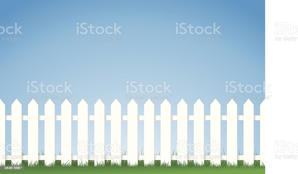 white fence. White Picket Fence Vector Art Illustration