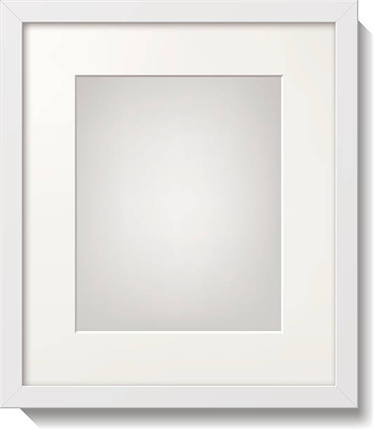 A white picture frame with white borders vector art illustration