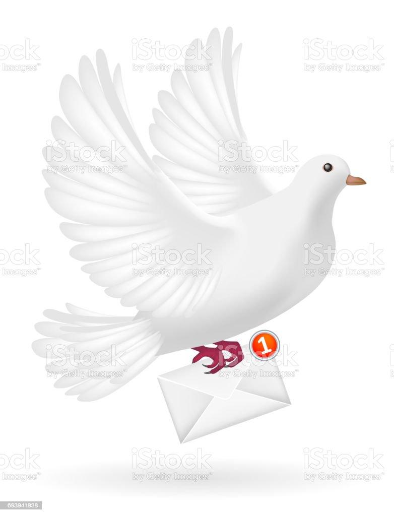 white pigeon bird sending white envelope letter vector art illustration