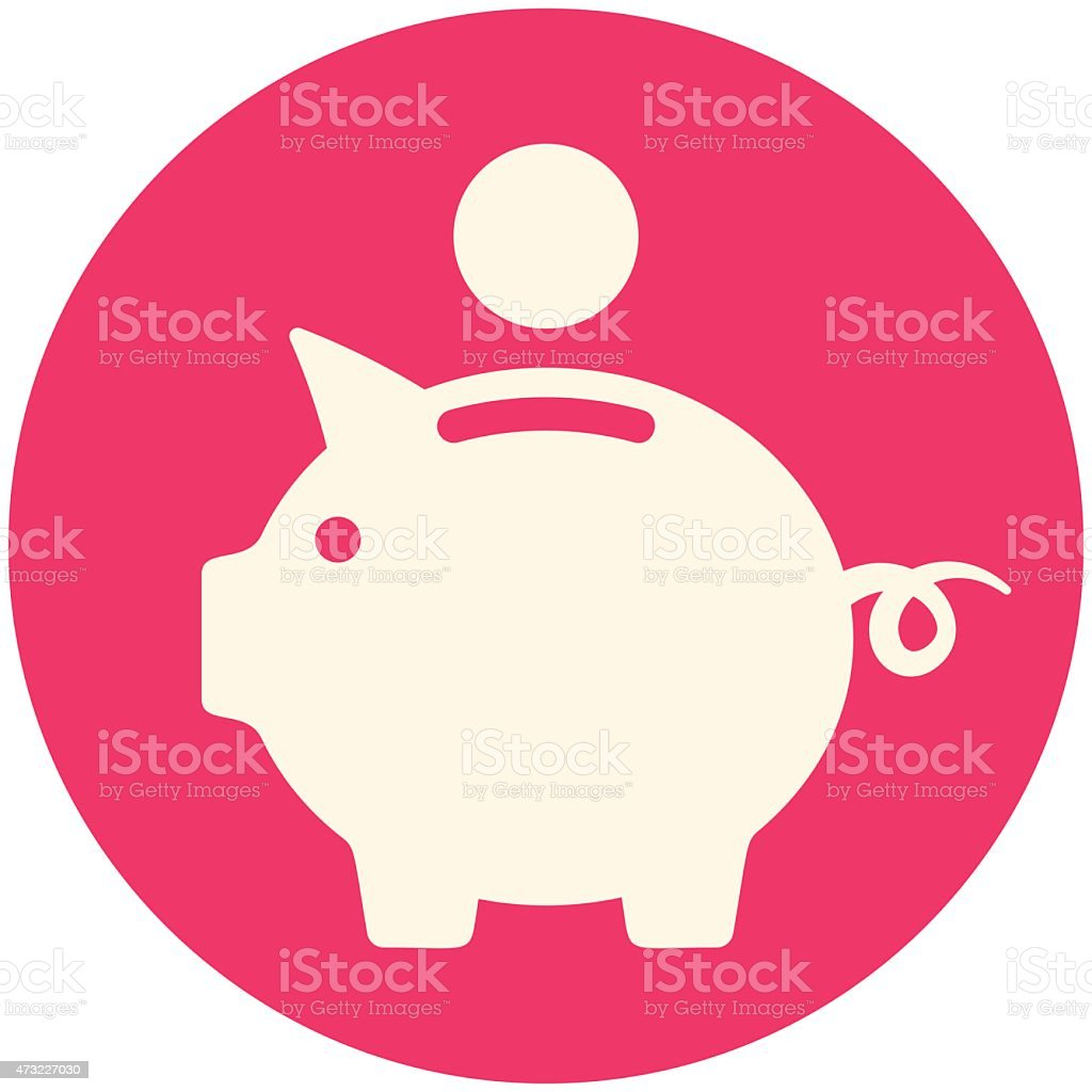 White Piggy bank icon in a red circle vector art illustration