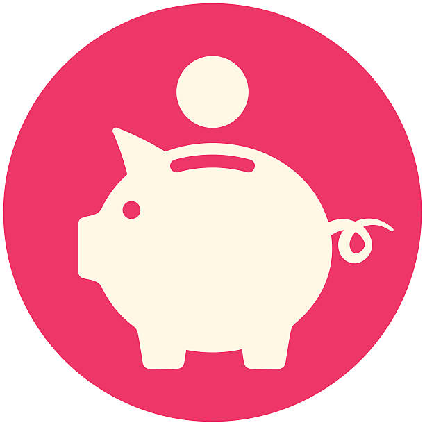 White Piggy bank icon in a red circle Round icon, flat design, vector illustration piggy bank stock illustrations