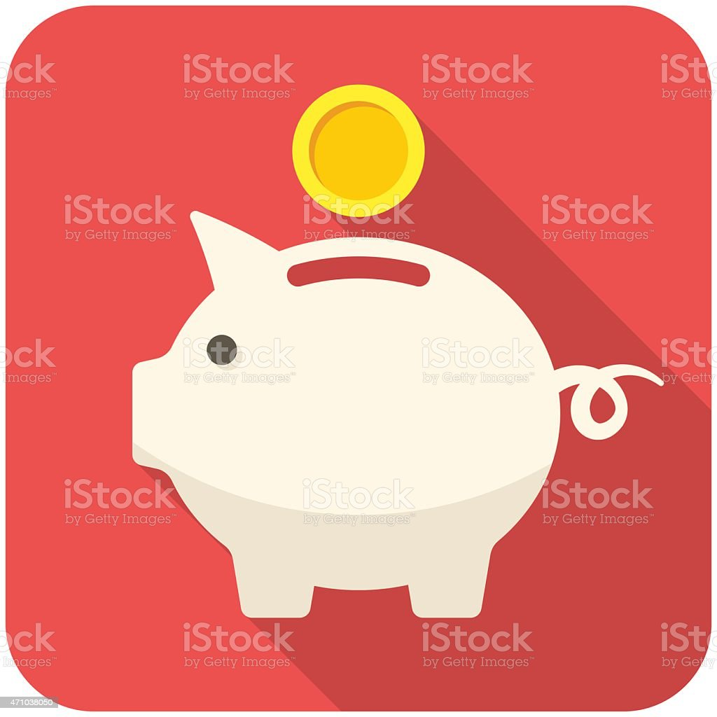 White piggy bank icon with a gold coin on a red background  vector art illustration
