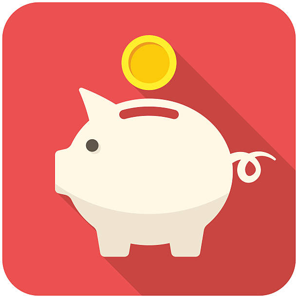 White piggy bank icon with a gold coin on a red background  Piggy bank icon (flat design with long shadows) piggy bank stock illustrations