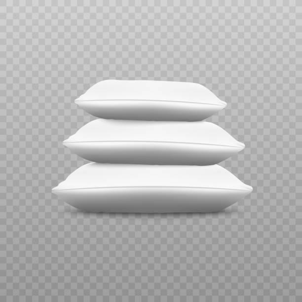 weißer kissenstapel von der seitenansicht - stapelbett stock-grafiken, -clipart, -cartoons und -symbole