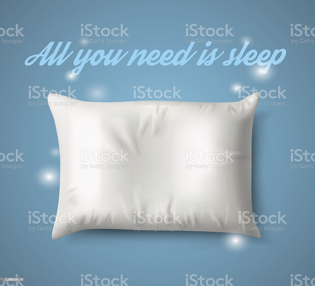 White Pillow with magic on Blue Background, Real Shadow. Vector vector art illustration