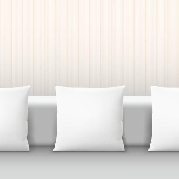weißen kissen auf sofa im innenraum - stapelbett stock-grafiken, -clipart, -cartoons und -symbole