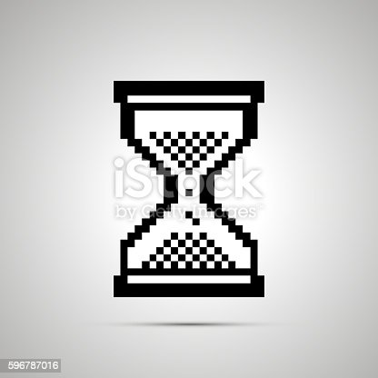 istock White pixelated computer cursor in hourglass shape, icon with shadow 596787016
