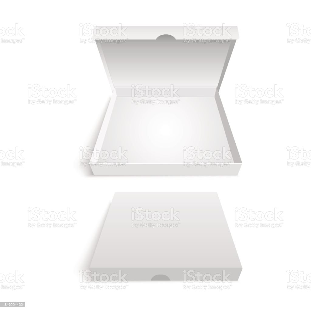 White pizza box packaging template. Vector illustration. vector art illustration