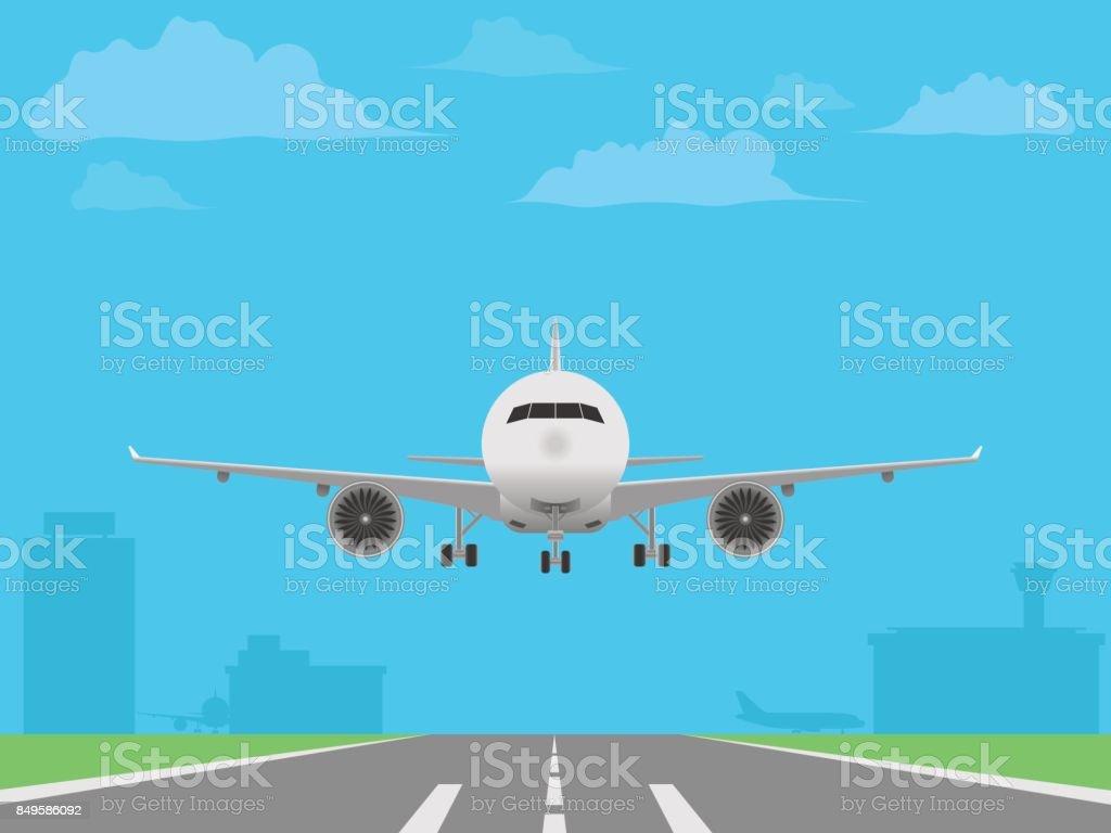 White plane landing on runway. Airport buildings vector art illustration