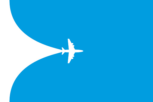 White plane symbol on a blue background. Airplane flight path banner