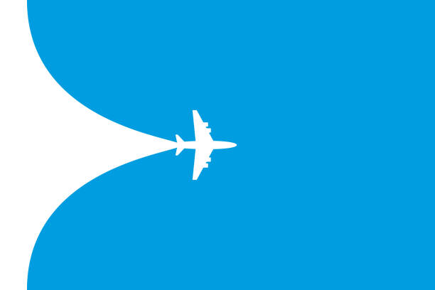 ilustraciones, imágenes clip art, dibujos animados e iconos de stock de símbolo de plano blanco sobre un fondo azul. bandera de ruta de vuelo del avión - avión