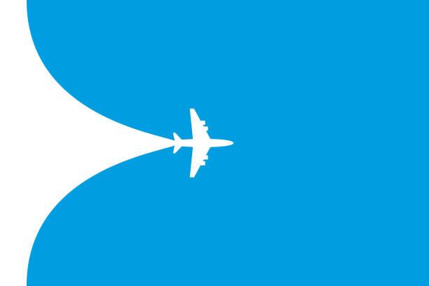 파란색 배경에 흰색 평면 기호입니다. 비행기 비행 경로 배너 - 복엽기 stock illustrations