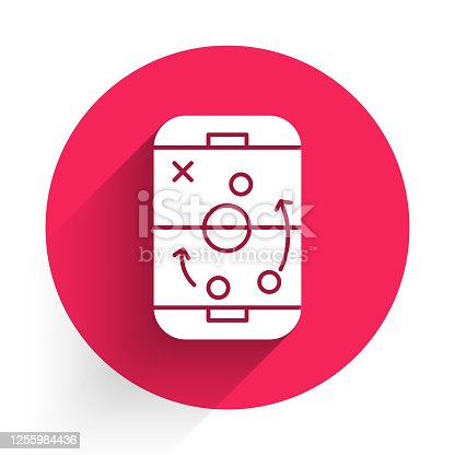 istock White Planning strategy concept icon isolated with long shadow. Hockey cup formation and tactic. Red circle button. Vector Illustration 1255984436