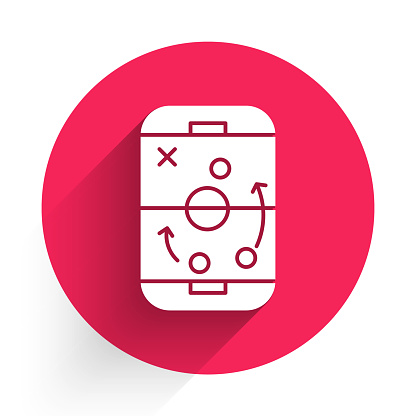 White Planning strategy concept icon isolated with long shadow. Hockey cup formation and tactic. Red circle button. Vector Illustration